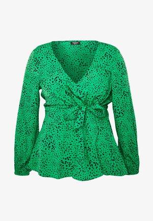 V-NECK TIE FRONT - Bluser - green spot