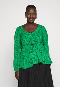 Simply Be - V-NECK TIE FRONT - Blouse - green spot - 0