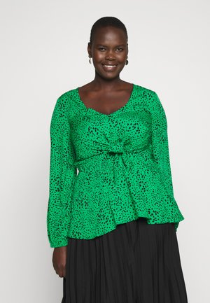 V-NECK TIE FRONT - Blouse - green spot