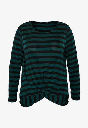 TWIST FRONT STRIPE TOP - T-shirt à manches longues - black / green stripe