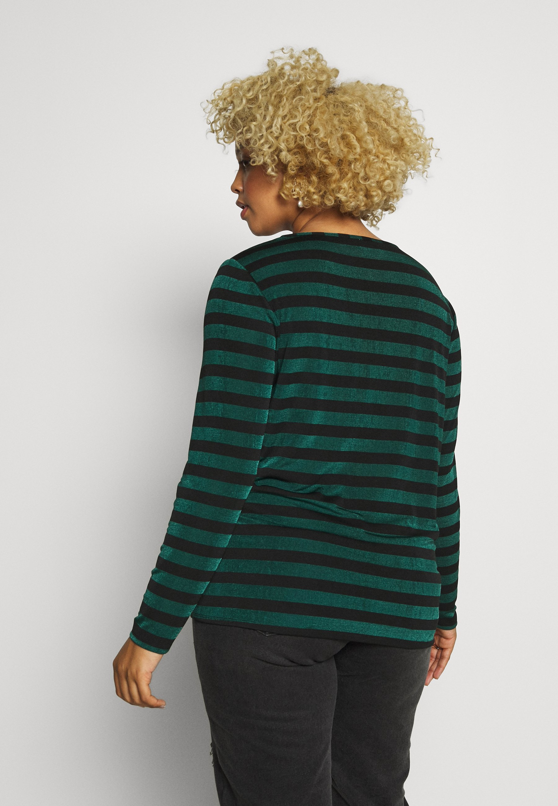 Simply Be TWIST FRONT STRIPE TOP - Topper langermet - black / green stripe