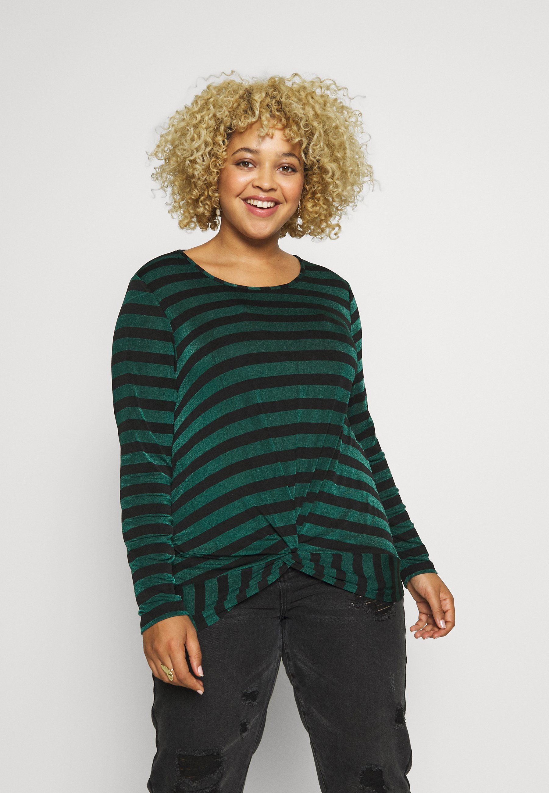 Simply Be TWIST FRONT STRIPE TOP - Bluzka z długim rękawem - black / green stripe