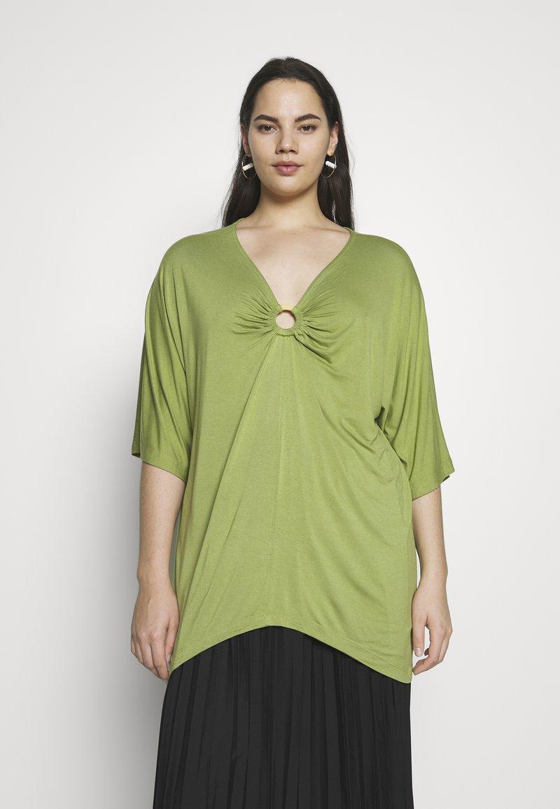 Simply Be - RING DETAIL  - Langærmede T-shirts - olive