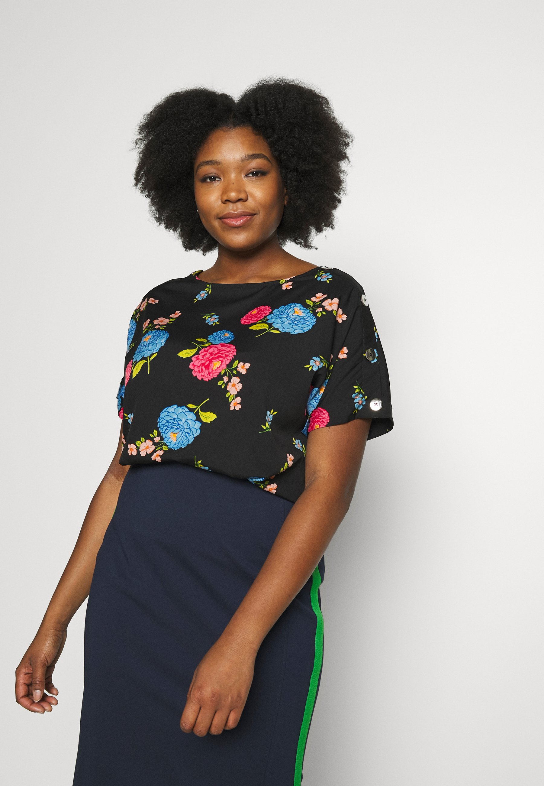 Simply Be BUTTON DETAIL BOXY  - Bluser - multicolor