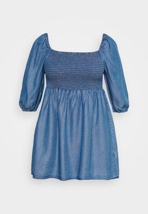 SHIRED PUFF SLEEVE TUNIC - Pusero - mid blue