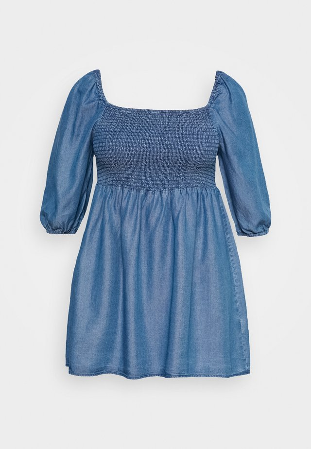 SHIRED PUFF SLEEVE TUNIC - Blus - mid blue