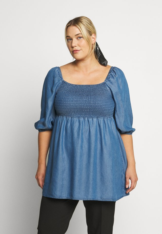 SHIRED PUFF SLEEVE TUNIC - Blouse - mid blue