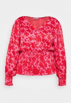 SHIRRED WRAP BLOUSE - Blouse - pink
