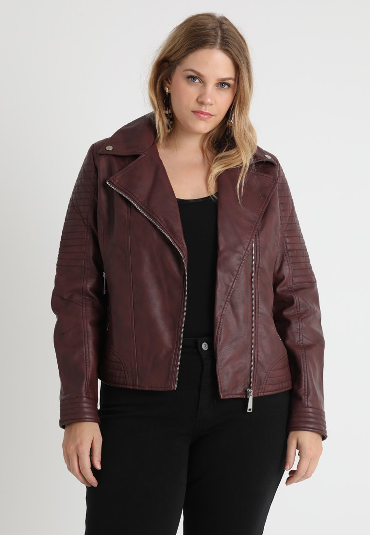 CAPSULE by Simply Be - BIKER - Faux leather jacket - berry