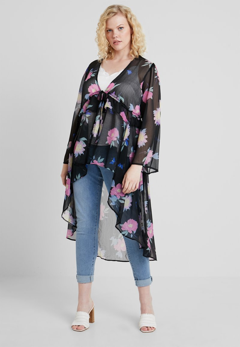 Simply Be - TIE FRONT LAYER KIMONO - Summer jacket - black