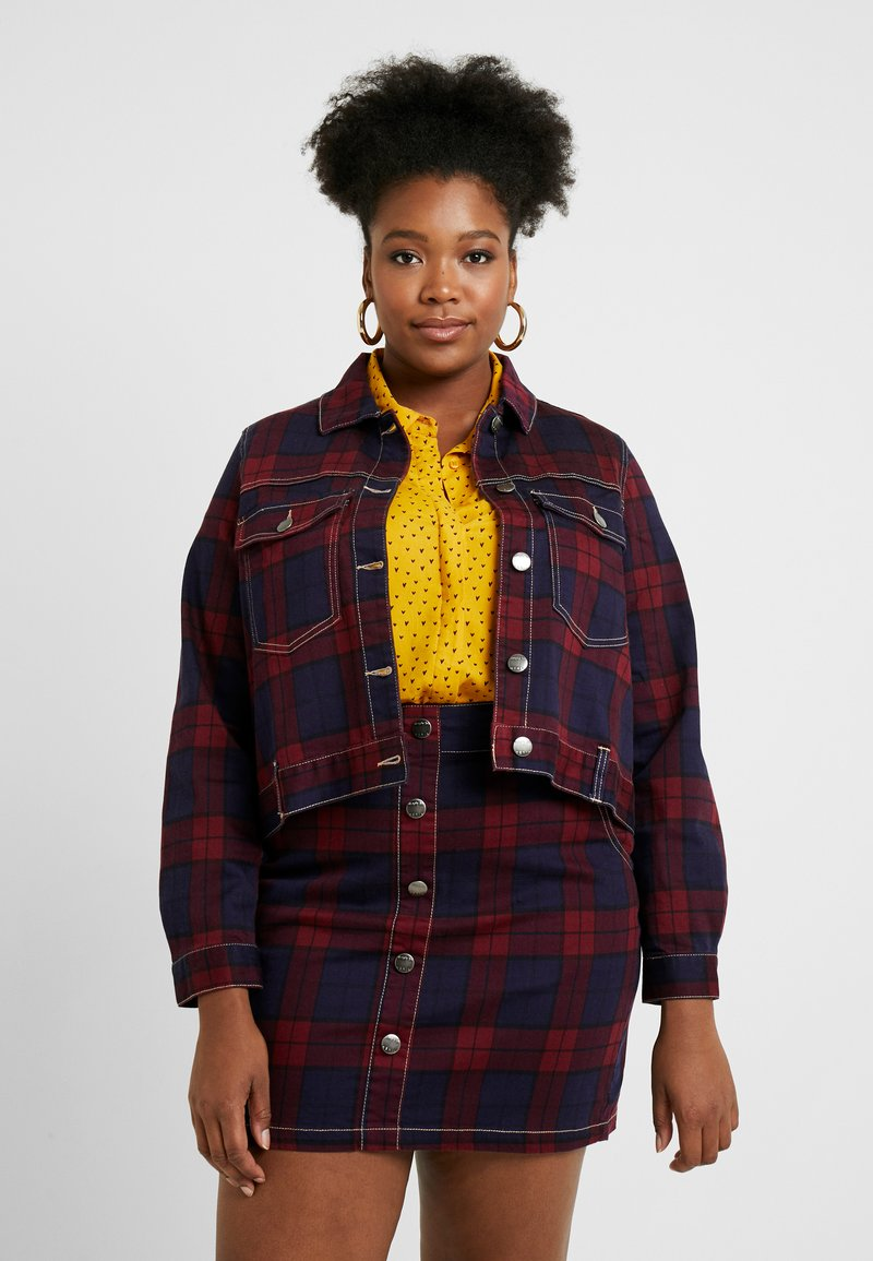 Simply Be - CHECKED JACKET - Spijkerjas - red