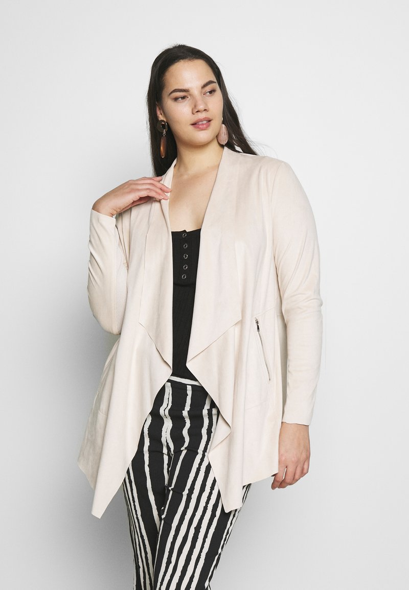 Simply Be - LONGLINE WATERFALL JACKET  - Kort kappa / rock - pale stone