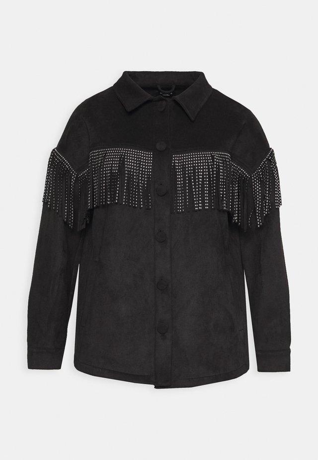 LONGLINE FRINGE SHACKET - Imiteret læderjakke - black