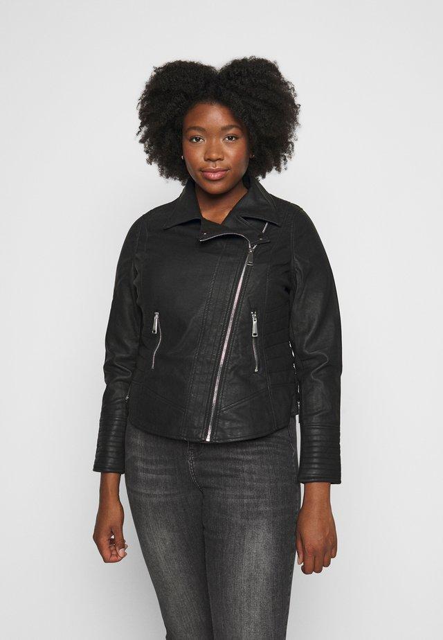 FIGURE SHAPING BIKER JACKET - Faux leather jacket - black