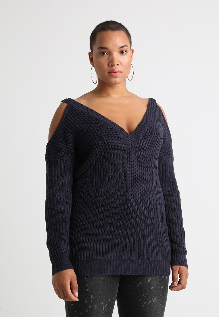 Simply Be - VALUE O RING DETAIL COLD SHOULDER  - Jumper - indigo