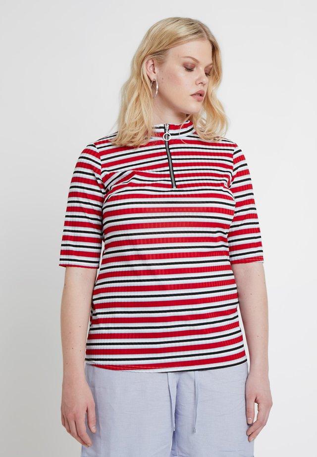 ZIP HALF SLEEVE - T-Shirt print - red/multi