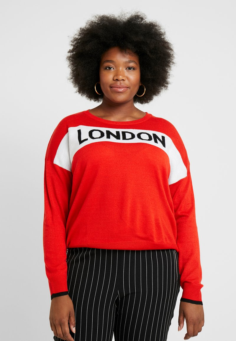 Simply Be - LONDON SLOGAN - Pullover - red
