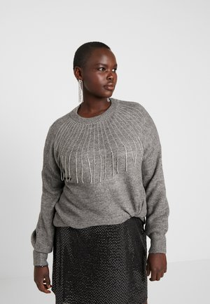 DIAMANTE FRINGE JUMPER - Neule - grey