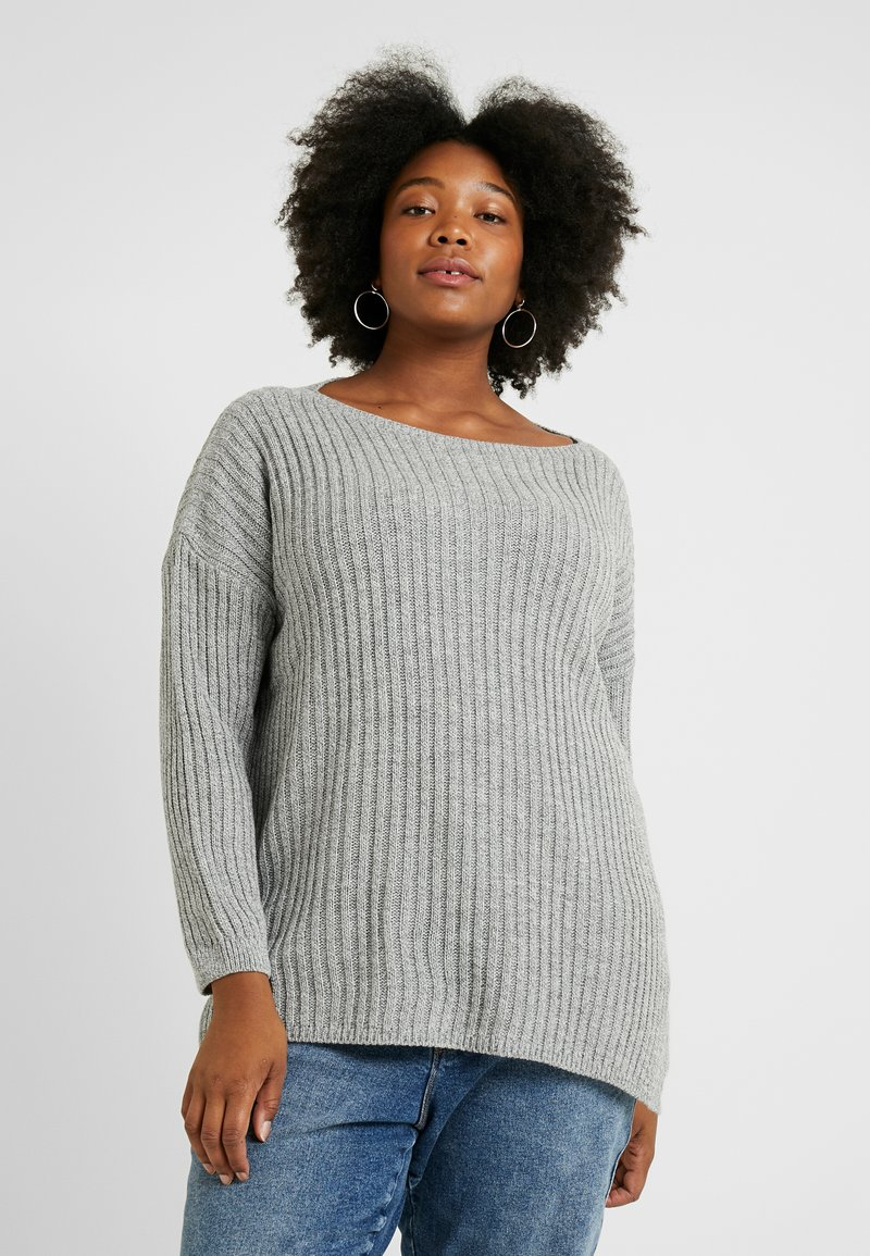 Simply Be - SIDE SPLIT TUNIC - Neule - grey marl