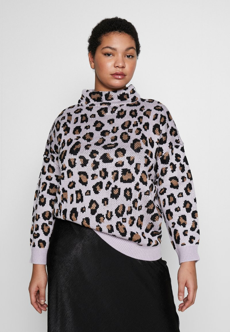 Simply Be - LEOPARD JUMPER - Strikkegenser - lilac/multi