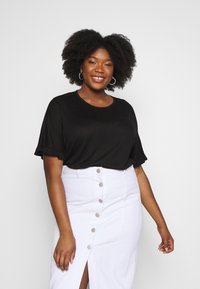 Simply Be - RUFFLE BOXY TEE UPDATE - T-Shirt print - black - 0