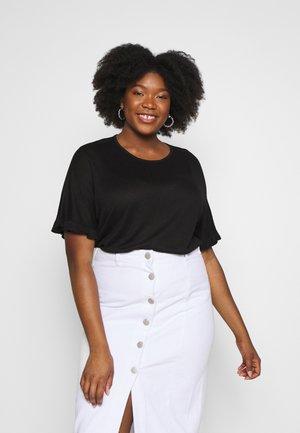 RUFFLE BOXY TEE UPDATE - T-shirts med print - black