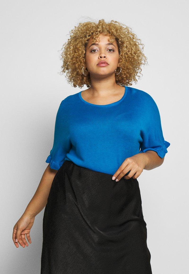 Simply Be - RUFFLE BOXY TEE - T-shirts med print - azure blue