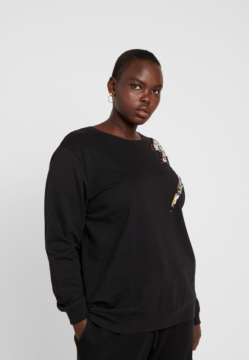Simply Be - LIGHTNING BOLT SEQUIN  - Sweatshirt - black/silver