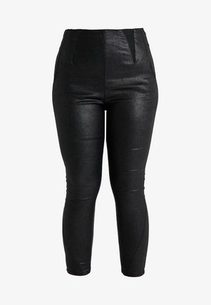 HIGH WAIST GLITTER SHAPER - Skinny džíny - black