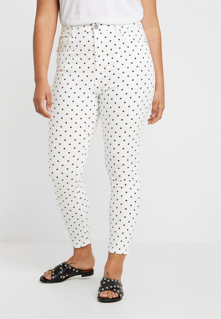 Simply Be - HIGH WAIST SPOT PRINT - Jeans Skinny Fit - white