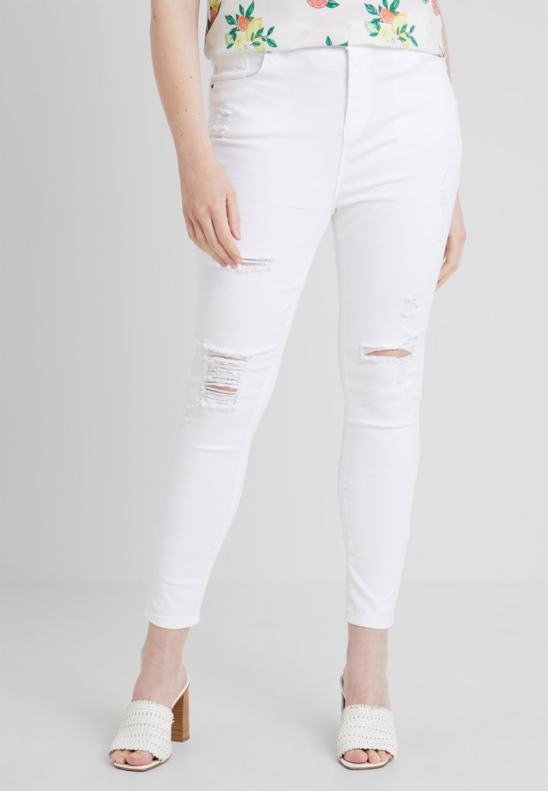 Simply Be - HIGH WAIST DISTRESSED - Jeans Skinny Fit - white