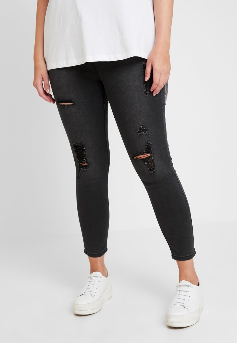 Simply Be - HIGH WAIST - Jeans Skinny Fit - washed black
