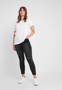 Simply Be - HIGH WAIST - Jeans Skinny - washed black - 1