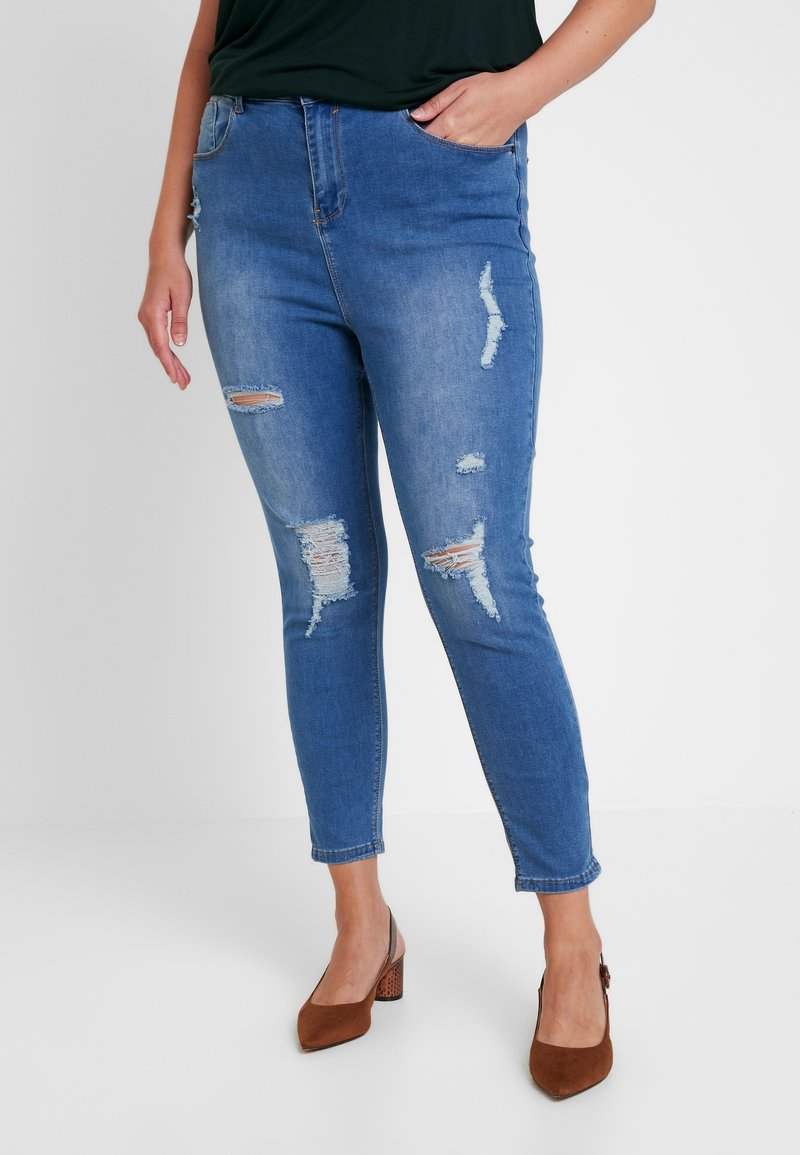 Simply Be - HIGH WAIST RIPPED - Jeans Skinny - mid blue