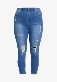 Simply Be - HIGH WAIST RIPPED - Jeans Skinny - mid blue - 3