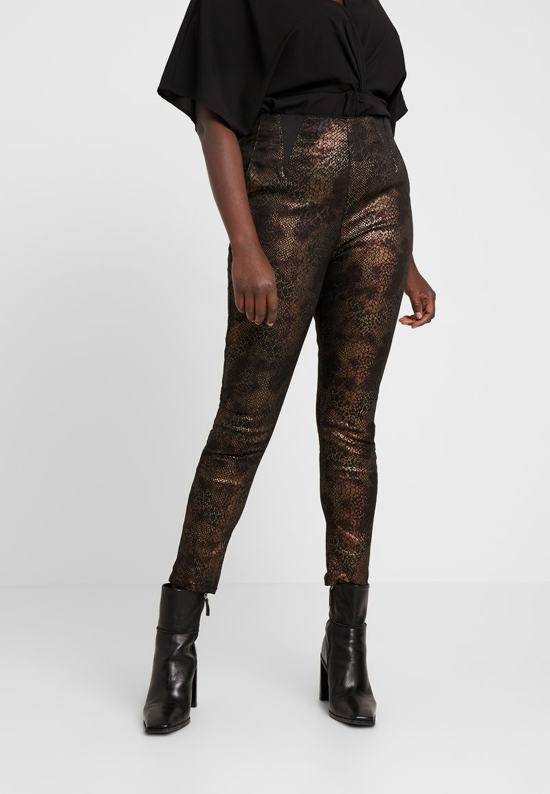 Simply Be - SNAKE PRINT HIGH WAIST SHAPER - Leggings - gold