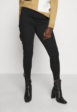 LACE UP HIGH WAST SHAPER JEGGINGS - Kalhoty - black