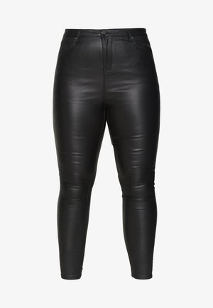 HIGH WAIST COATED SKINNY - Leather trousers - black