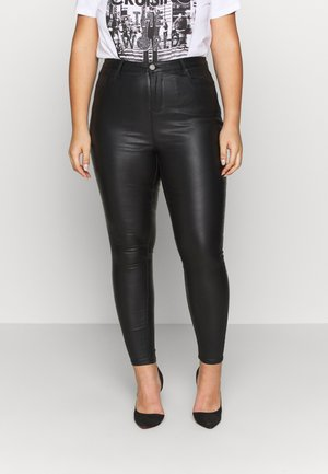 HIGH WAIST COATED SKINNY - Pantalón de cuero - black