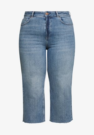 RAW HEM CROP WIDE LEG JEANS - Jeans Skinny Fit - bluewash