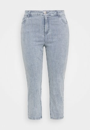 STRIPE CROP SLIM  - Slim fit jeans - blue