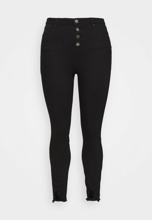 HIGH WAIST BUTTON FLY - Jeans Skinny Fit - black
