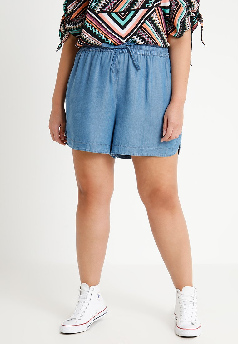 CAPSULE by Simply Be - PULL ON SHIRRED WAIST - Shorts - mid blue