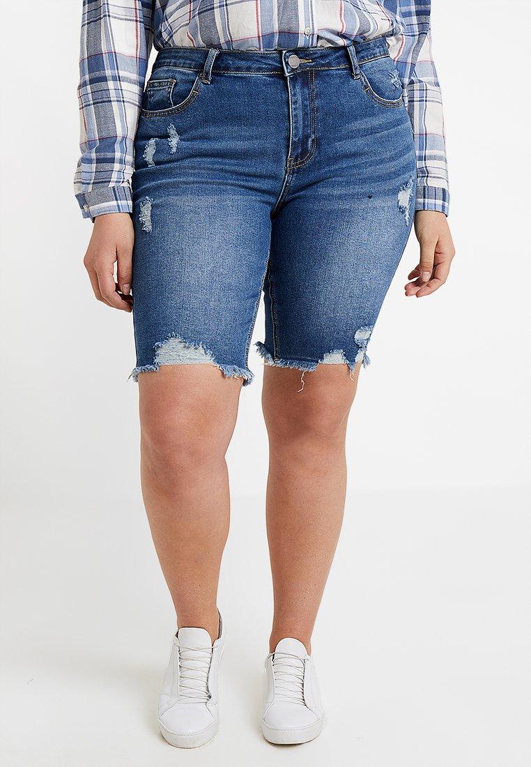 Simply Be - FERN KNEE LENGTH - Denim shorts - dark stonewash
