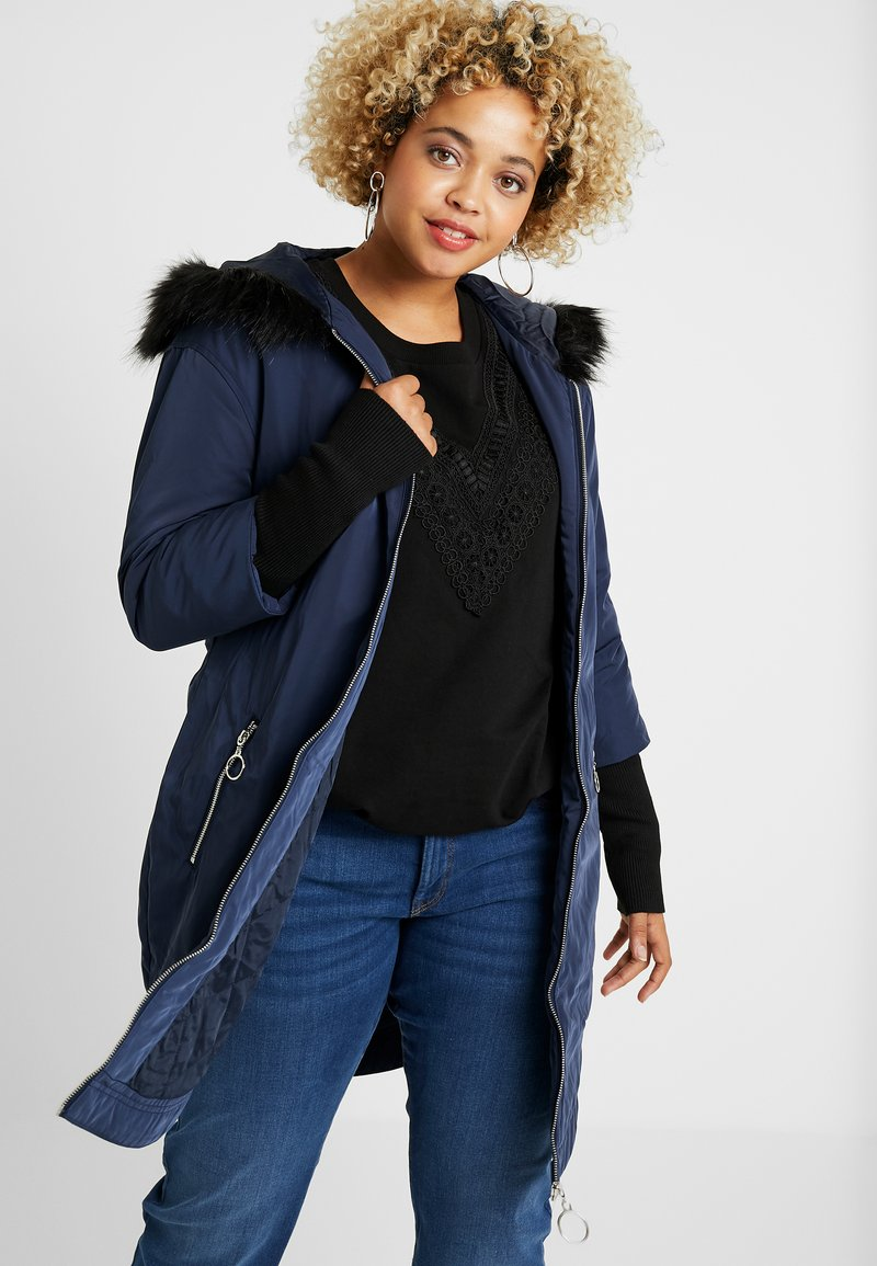 Simply Be - FUR LINED SPORTY PARKA WITH CUFF - Villakangastakki - navy