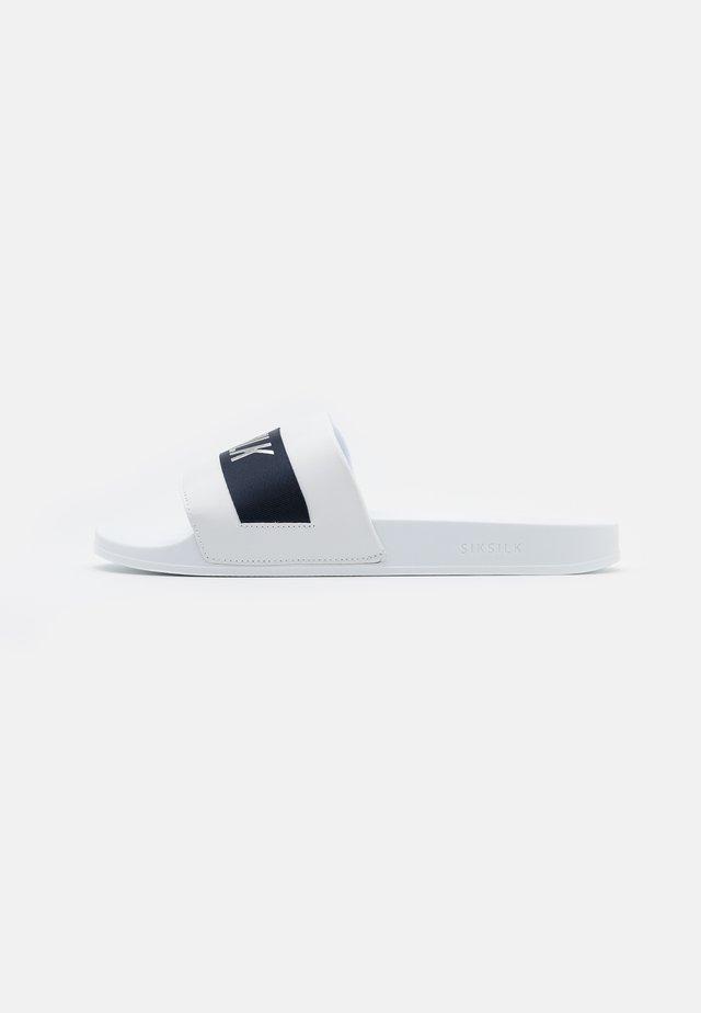 ROMA SLIDES - Muiltjes - white/navy/silver