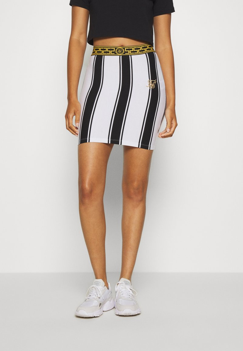 SIKSILK - ATHENA STRIPE SKIRT - Minisukně - black/white