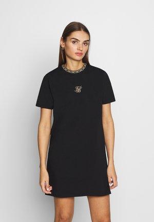TAPE COLLAR T-SHIRT DRESS - Žerzejové šaty - black