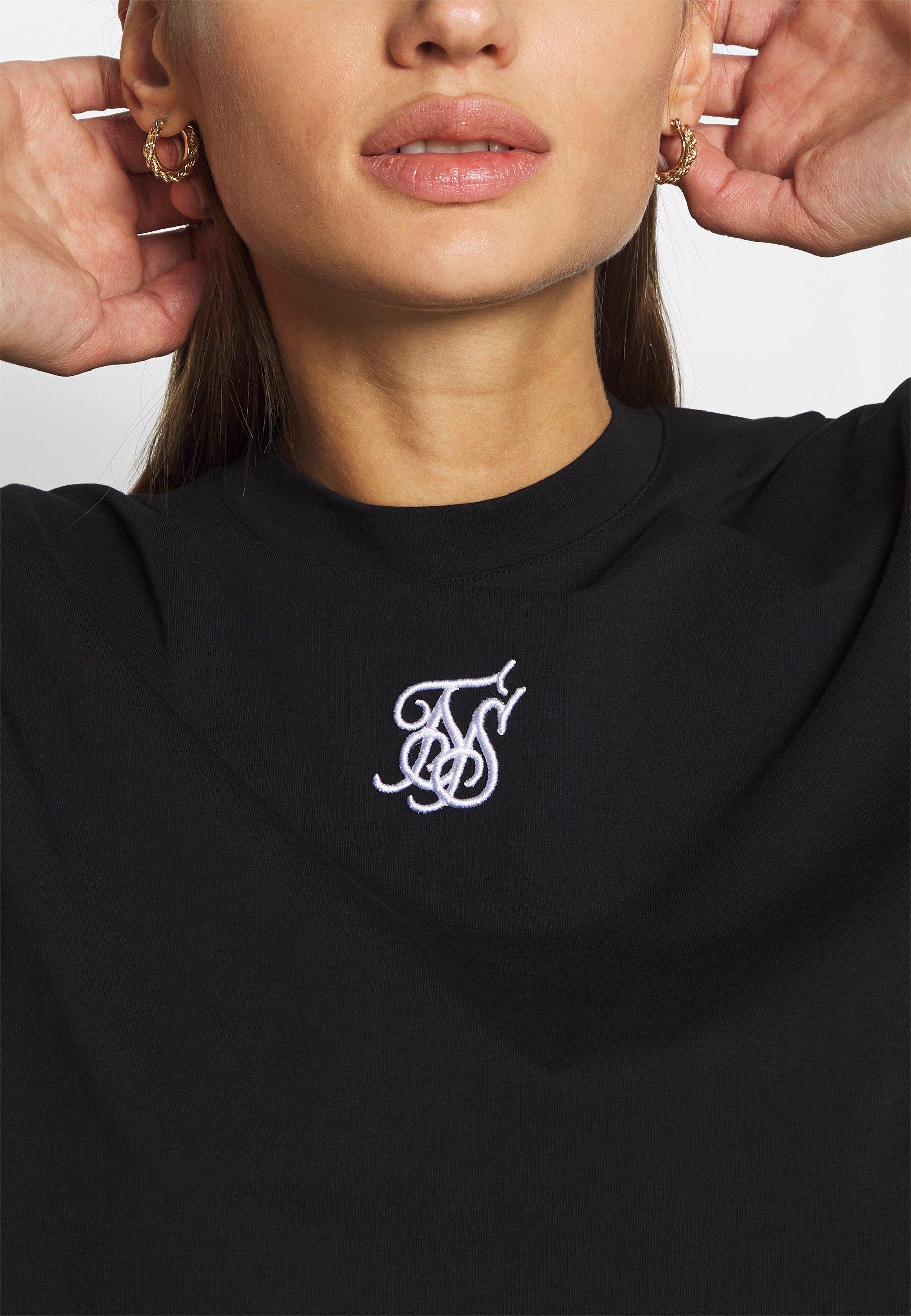 SIKSILK OVERSIZE CROP TEE - T-shirt z nadrukiem - black
