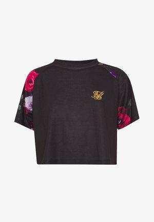 OIL PAINT RAGLAN CROP TEE - T-shirt con stampa - black